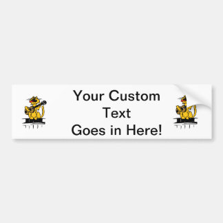 yellow cat playing guitar and singing bumper sticker
