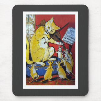 Yellow Cat Plays the Violin for Dancing Rats Mousepads