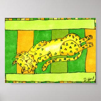 Yellow Cat Sleeping on a Rug Mini Folk Art Poster