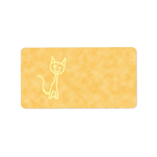 Yellow Cat, Winking. Yellow Pattern Background. Address Label