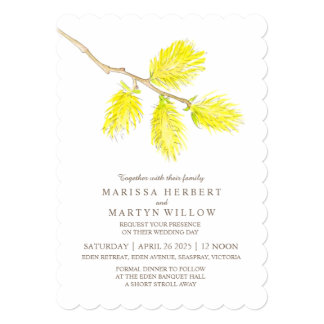 Yellow catkin watercolor wedding invitations