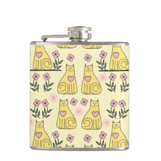 Yellow Cats Hip Flask