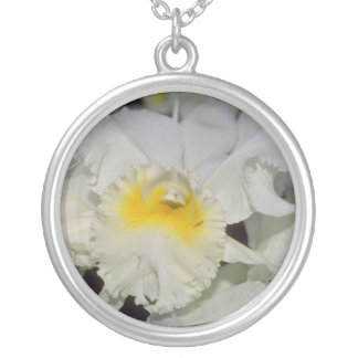 Yellow Cattleya flowers Silver Plated Necklace