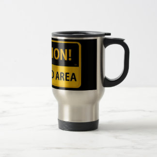 Yellow Caution Restricted Area Coffee Travel Mug
