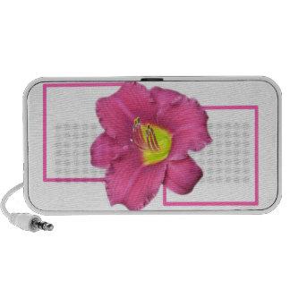 Yellow Centered Pink Flower Sq Speaker