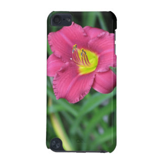 Yellow Centred Pink Flower w Green Ipod Case iPod Touch (5th Generation) Cases