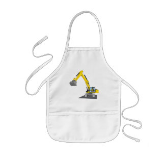 yellow chain excavator kids apron