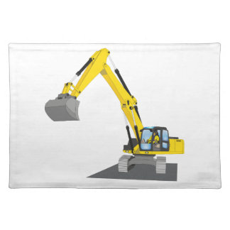 yellow chain excavator placemat
