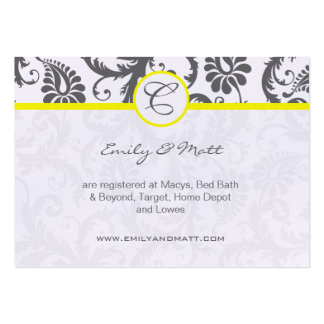 Yellow & Charcoal Gray Damask Wedding Info Cards Business Card Template