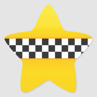 Yellow Checkerboard Pattern Star Sticker