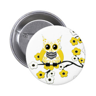 Yellow Cherry Blossoms Owl Button
