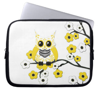 Yellow Cherry Blossoms Owl Electronics Bag