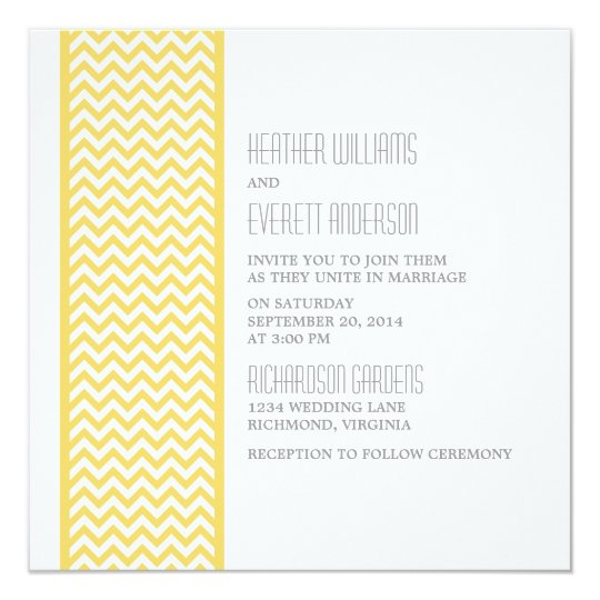 Yellow Chevron Border Wedding Invite | Zazzle.co.uk