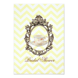 "yellow chevron Bridal Shower Tea Party Invitation 5"" X 7"" Invitation Card"