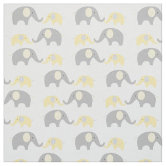 Yellow Chevron Elephant Nursery Fabric