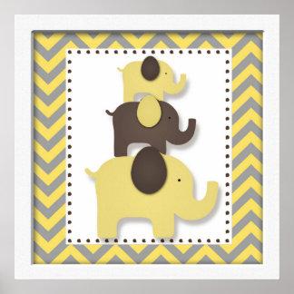 Yellow Chevron Elephant Nursery Wall Art Posters