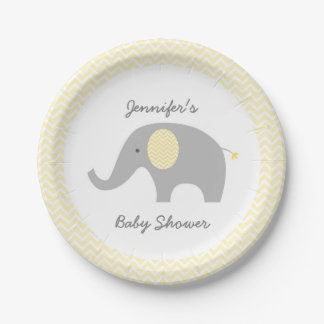 Yellow Chevron Elephant Paper Plates 7 Inch Paper Plate