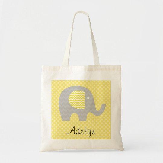 Yellow Chevron Elephant Personalised Tote Bag
