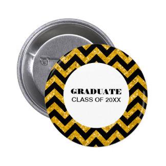 Yellow Chevron Glitter Graduation Button