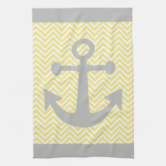 Yellow Chevron Gray Anchor Tea Towel