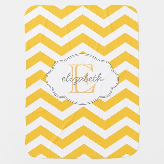 Yellow Chevron Monogram Baby Blanket