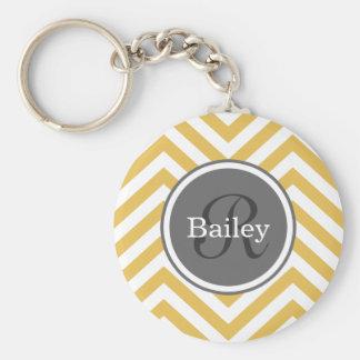 Yellow Chevron Monogram Basic Round Button Key Ring