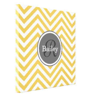 Yellow Chevron Monogram Canvas Print