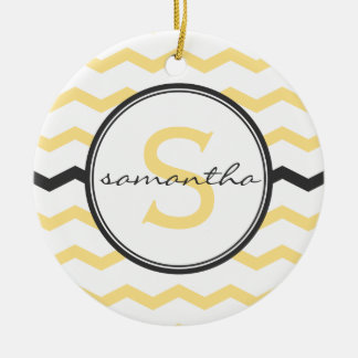 Yellow Chevron Monogram Christmas Ornament