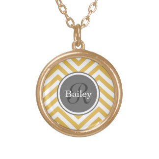 Yellow Chevron Monogram Gold Plated Necklace