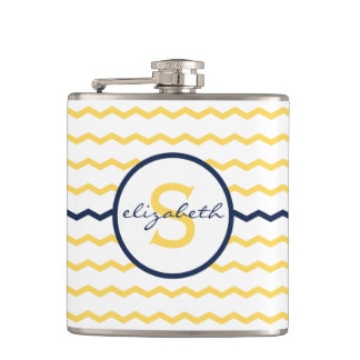 Yellow Chevron Monogram Hip Flask
