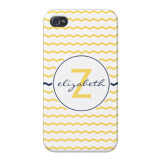 Yellow Chevron Monogram iPhone 4/4S Case