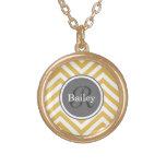 Yellow Chevron Monogram Personalised Necklace