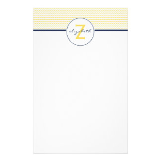 Yellow Chevron Monogram Stationery