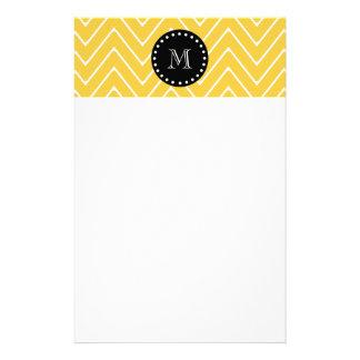 Yellow Chevron Pattern | Black Monogram Custom Stationery
