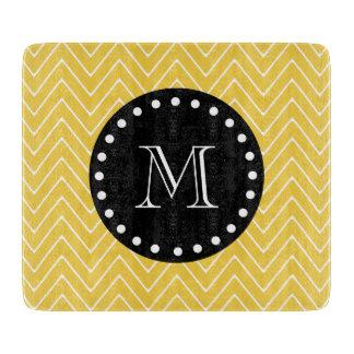 Yellow Chevron Pattern | Black Monogram Cutting Board