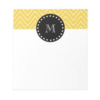 Yellow Chevron Pattern | Black Monogram Notepad
