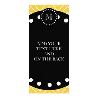 Yellow Chevron Pattern | Black Monogram Rack Card