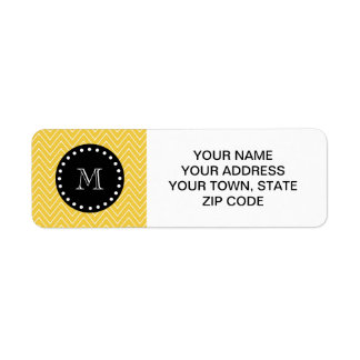 Yellow Chevron Pattern   Black Monogram Return Address Label