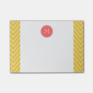 Yellow Chevron Pattern | Coral Monogram Post-it Notes
