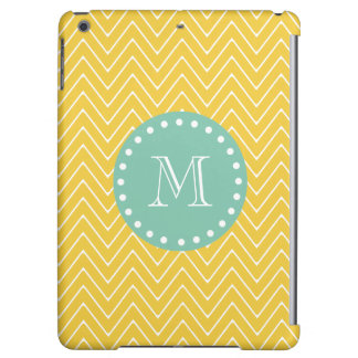 Yellow Chevron Pattern | Mint Green Monogram