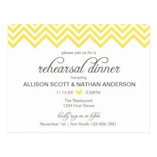 Yellow Chevron Rehearsal Dinner Invite Postcard