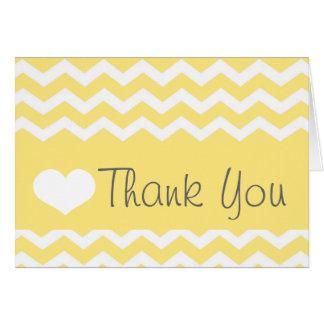 Yellow Chevron Thank You Note Card