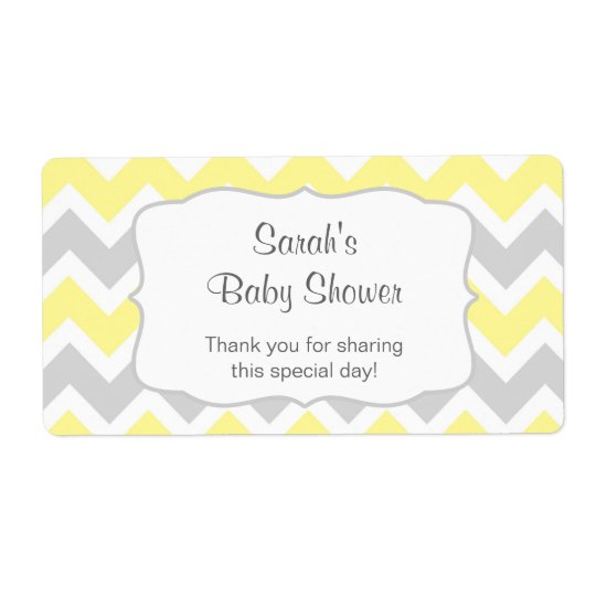 Yellow Chevron Water Bottle or favour u customise Shipping Label