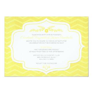 Yellow Chevron Wedding Invitations