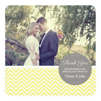 Yellow Chevron Wedding Thank You Card 13 Cm X 13 Cm Square Invitation Card