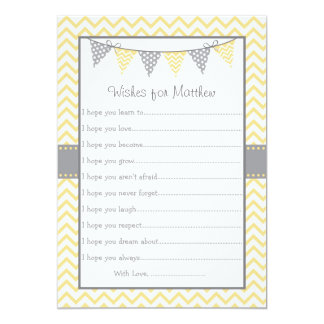 Yellow Chevron Wishes for Baby Cards 13 Cm X 18 Cm Invitation Card