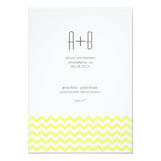 Yellow Chevron You In? Save the Date Card