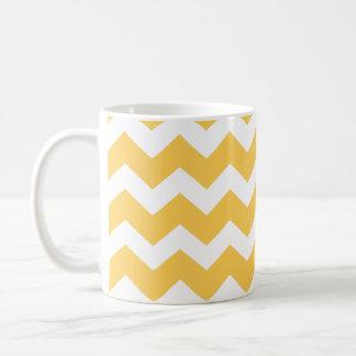 Yellow chevron zigzag pattern modern trend basic white mug