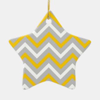 Yellow Chevrons Christmas Ornament