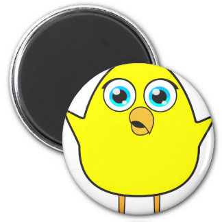 Yellow chick 6 cm round magnet